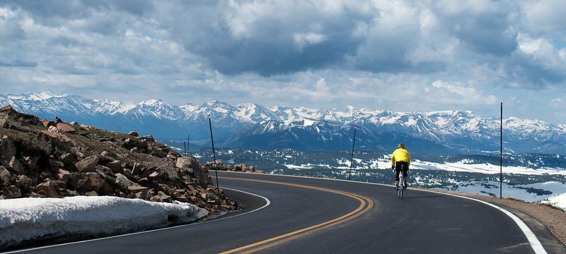Bob riding toward the Absaroka Range