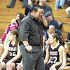Watervliet coach Gordie Johnson reacts as Salmon River defeats Watervliet 73-65 in Class 'B' reginal high school girls basketball final action Saturday, March 9, 2013 at SUNY Potsdam. (J.S. Carras / The Record)