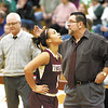 Watervliet's Ailayia Demand upset after she missed a lay up late in fourth quarter against Salmon River in Class 'B' reginal high school girls basketball final action Saturday, March 9, 2013 at SUNY Potsdam. (J.S. Carras / The Record)
