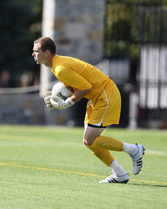 POUGHKEEPSIE, NY - SEPTEMBER 23: Marist Red Foxes goalie Anthony Sokalski #1 ball during Yale verses Marist Soccer on September 23, 2012 at Tenney Stadium in Poughkeepsie New York.  Yale defeats Marist 2-1. (Photo by Sandy Tambone)