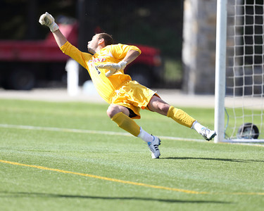 POUGHKEEPSIE, NY - SEPTEMBER 23: Marist Red Foxes goalie Anthony Sokalski #1 deflects shot during Yale verses Marist Soccer on September 23, 2012 at Tenney Stadium in Poughkeepsie New York.  Yale defeats Marist 2-1. (Photo by Sandy Tambone)