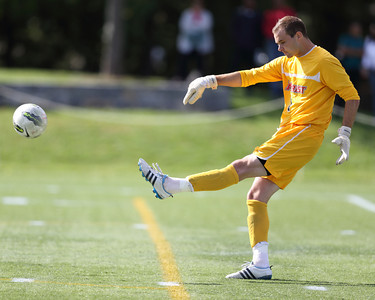 POUGHKEEPSIE, NY - SEPTEMBER 23: Marist Red Foxes goalie Anthony Sokalski #1 clears ball during Yale verses Marist Soccer on September 23, 2012 at Tenney Stadium in Poughkeepsie New York.  Yale defeats Marist 2-1. (Photo by Sandy Tambone)