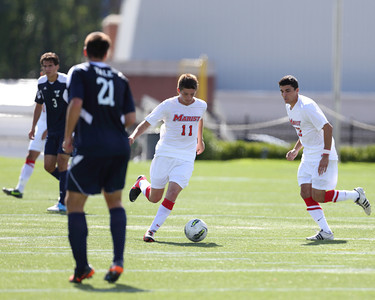 POUGHKEEPSIE, NY - SEPTEMBER 23: Evan Southworth #11 dribbles ball during Yale verses Marist Soccer on September 23, 2012 at Tenney Stadium in Poughkeepsie New York.  Yale defeats Marist 2-1. (Photo by Sandy Tambone)