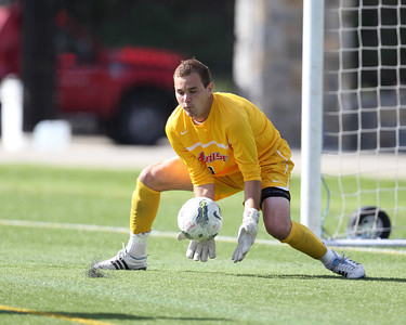 POUGHKEEPSIE, NY - SEPTEMBER 23: Marist Red Foxes goalie Anthony Sokalski #1 stops shot during Yale verses Marist Soccer on September 23, 2012 at Tenney Stadium in Poughkeepsie New York.  Yale defeats Marist 2-1. (Photo by Sandy Tambone)