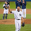 Mariano acknowledging his fans as he officially walks off the Yankee Stadium mound as closer for the last time.