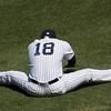 The new shortstop, Didi Gregorious,  stretches