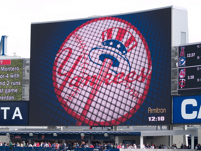 The new Yankee Stadium has a huge scoreboard.