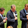 Paul O'Neill, Michael Kay and Al Leiter, YES broadcasters before game