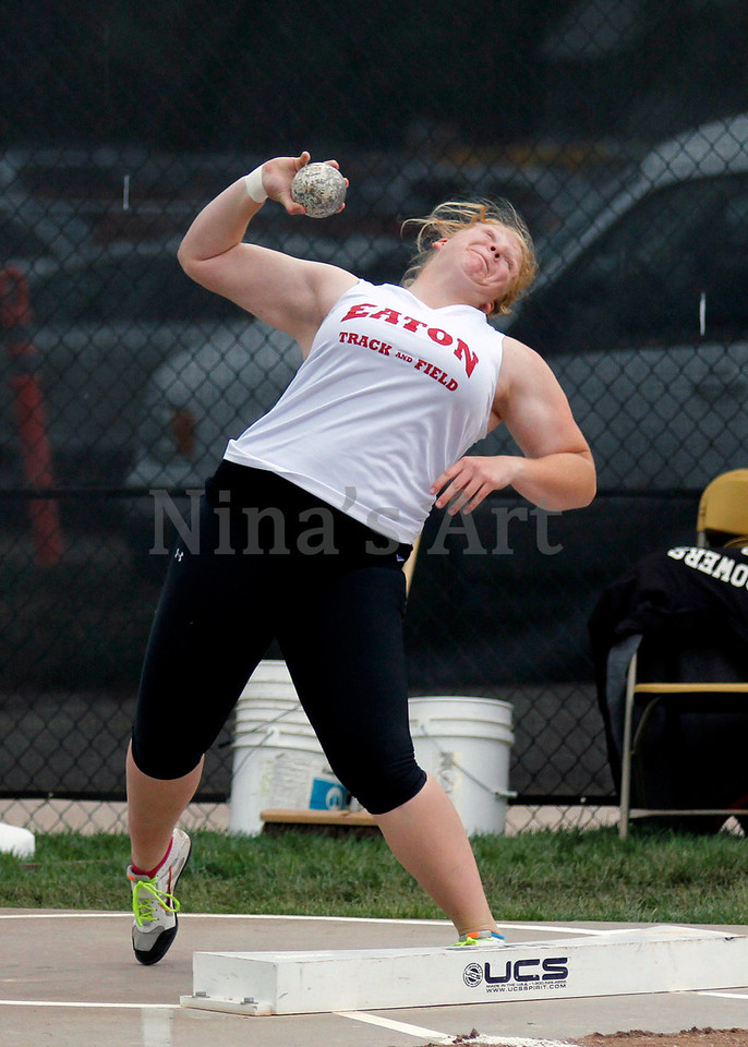 Mel Herl with her 3A state championship shot put throw at State