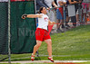 Carrie Ruff let's the discus sail to a 3A state title distance