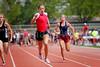 Mariah Bradlly leading her 100m dash heat