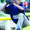 Leominster American Liam McNiff takes the mound during the Leominster Major League City Championship game against North Leominster on Friday evening. SENTINEL & ENTERPRISE / Ashley Green