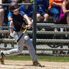 Leominster American's Brandon Arsenault hits a double. SENTINEL & ENTERPRISE / GARY FOURNIER