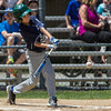 Leominster American's Liam McNiff delivers an RBI single. SENTINEL & ENTERPRISE / GARY FOURNIER