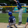 Leominster National's Colin Garrity makes a nice play at second base to force out Leominster American's Rafael Perez while Jake Richard looks on. SENTINEL & ENTERPRISE / GARY FOURNIER
