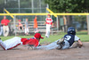 Westport's Justin Seideman (#3) beats Fairfield American's Connor Lynch (#2) back to the bag after Lynch caught a line drive in the second inning at Little League district 2 play at Blackham Field in Bridgeport