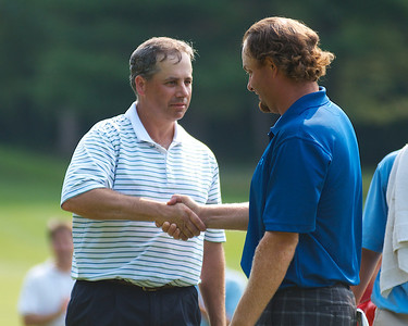 071312, Marblehead, MA - Matt Souliotis  shakes hands with Mike Calef after the latter beat the former for the Massachusetts Golf Association's Massachusetts Amateur Championship at Tedesco Country Club. Herald photo by Ryan Hutton