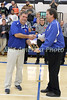 Danville coach Ken Laffoon received a plaque from Athletic Director Kirk Soukup recognizing his 500th win as a high school basketball coach Friday, January 20, 2017.