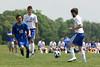 Danville/New London's Josh Deggendorf (#20), Bryon McCannon (#8) and Columbus' Eric Ayala (#12)