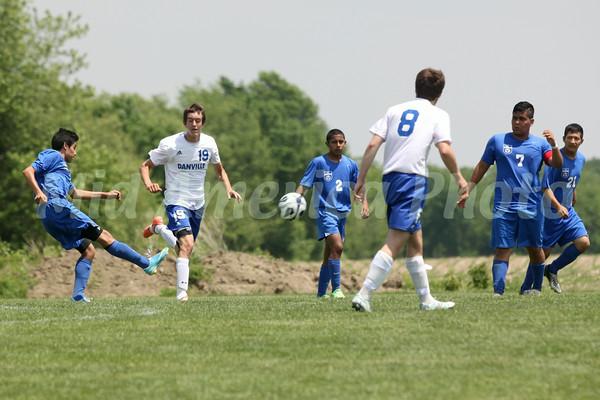 Danville/New London's Kole Perkins (#19), Bryon McCannon (#8) and Columbus' Ruben Paz (#11), Adrian Santos (#2) and Bryan Santiago (#7)