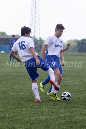 Danville/New London's Brock Palar (#16) and Cole Foster (#11)