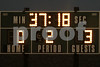 The timeout clock when the game stopped due to lightning.