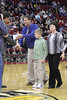 Danville High School boys coach Ken Laffoon received an award recognizing his 400th win milestone Saturday night at Wells Fargo Arena.  He was accompanied by his wife Brenda and stepson Caleb.