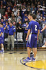 Danville's Michael Soukup (#10), Connor Hogberg (#2), Coach Ken Laffoon, and the Danville crowd