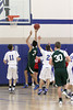 Danville's Steven Soukup (#11), Connor Hogberg (#2) and Maharishi's Surya Sawhney (#34) and Avery Mullenneaux (#30)