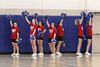 Danville cheerleaders: Shayla Cousins, Katelyn Gorrell, MaKaylee Rhodes, Anna Smith, Clair Robertson, Sammie Johnson, and Claire Henry