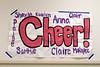 Danville basketball cheerleaders poster in the hall.