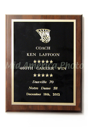 Coach Ken Laffoon's plaque for his 400th career victory.