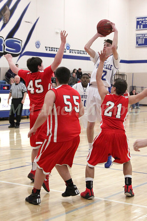 Danville's Mason Lorber (#12) and Cardinal's Chase Courtney (#45), Logan Rachford (#55) and Miguel Santiago (#21)