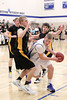 Danville's Mitch Martin (#44) and Central Lee's Reed Shockley (#4), Rick Galle (#30) and Kyler Hugg (#2)