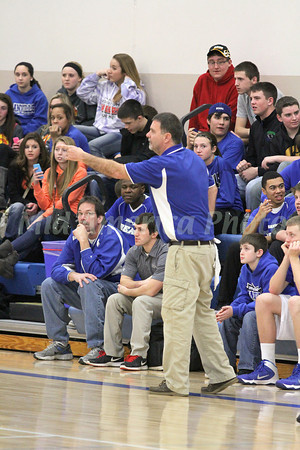 Danville's Coach Ken Laffoon telling his players what to do from the sidelines.