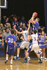 Danville's Kolton Jackson (#30), Mitch Martin (#44) and Holy Trinity's Tanner Kelch (#34) and Sam Harmeyer (#32)