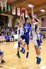 Danville's Dillion Sanchez (#5) and Holy Trinity's Sam Harmeyer (#32) and Tanner Kelch (#34)