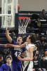 Danville's Josh Deggendorf (#20), Connor Hoelzen (#42) and Notre Dame's Jeff Giannettino (#12)