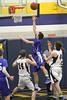 Danville's Dillon Sanchez (#5) and Notre Dame's Matt Burford (#14) and Cody Moehn (#4)