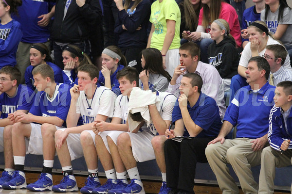 The Danville basketball team watching the game.