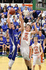 Danville's Kaleb Haeffner (#35) and Easton Valley's Logan Miller (#33) and Dustin Lippens (#10)