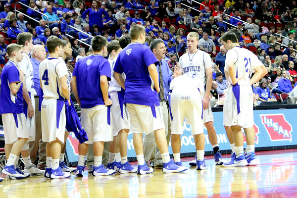 Danville's Head Coach Ken Laffoon yells at his players during a timeout.