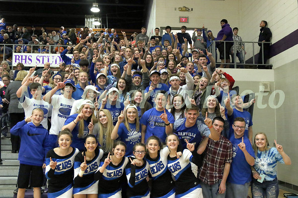 The Danville student section and cheerleaders showing support for their Bears during halftime February 23, 2017 in the Class 1A, District 10 final on Don Gibbs Court, Carl Johannsen Gymnasium in Burlington.<br /> Photo by Donald K. Aliprandi