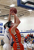 Van Buren's Mason McDonough (44) puts up a shot and draws a foul from behind from Danville's Kole Perkins (2) Tuesday, February 7, 2017 at Danville.<br /> Photo by Donald K. Aliprandi