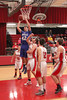 Danville's Connor Hoelzen (#42) and Cardinal's Nathan Yeager (#50), Kaleb Durflinger (#52), Jonathan Pederson (#42), and Charlie Rachford (#22)
