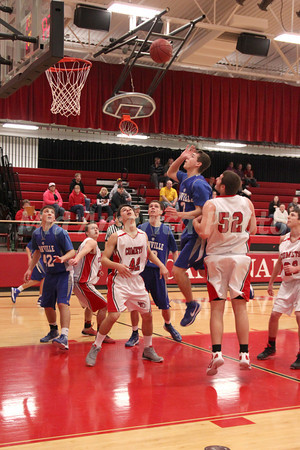 Danville's Connor Hoelzen (#42), Michael Soukup (#10), Connor Hogberg (#2) and Cardinal's Cody Carter (#24), Jonathan Pederson (#42), Kaleb Durflinger (#52), and Charlie Rachford (#22)