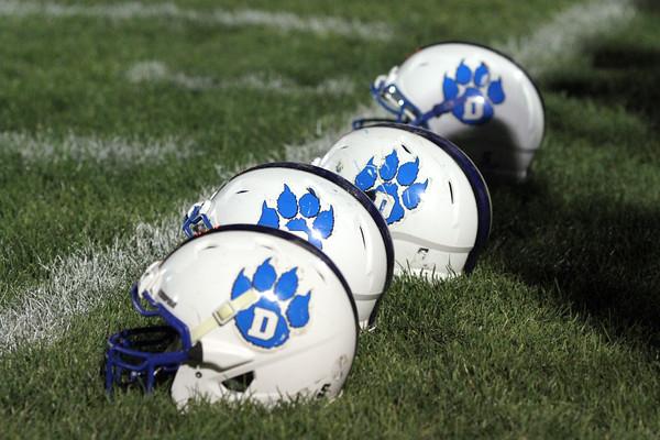 The team captains' helmets