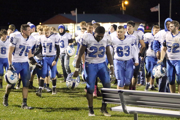 The Danville football team looking miserable after their loss and the end of their season.