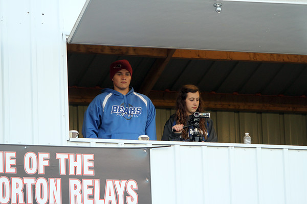 Danville's Tyler Hill and Makaylee Rhodes filming the game.