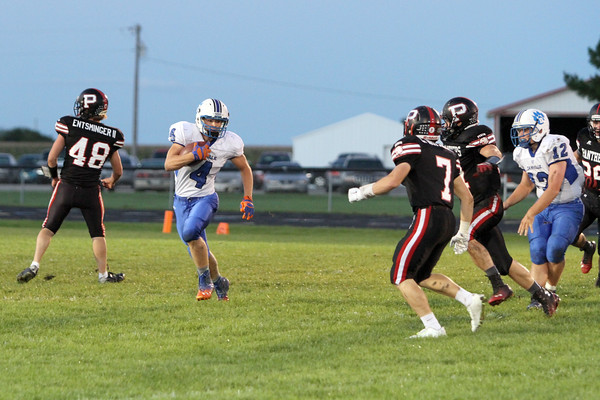 Danville's Noah Foster (#4), Nick Fencl (#12) and Pekin's Scott Entsminger (#48), Christian Wittrock (#7) and Tanner Adam (#31)